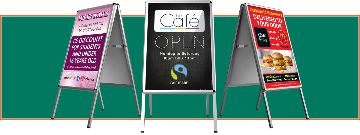 A-Boards from Minuteman Press Norwich which are more commonly known as Sandwich Boards