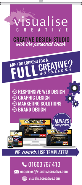 Roller banner for Visualise Creative, graphic designers and web designers in Norwich