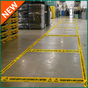 Self Adhesive Yellow Floor Warning Tape to keep 2 metres apart