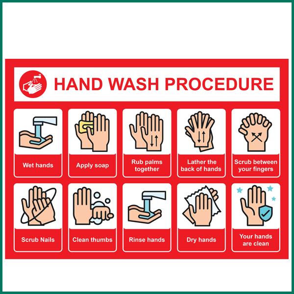 Hand Wash Procedure Advice Wall Sticker at Minutemand Press Norwich