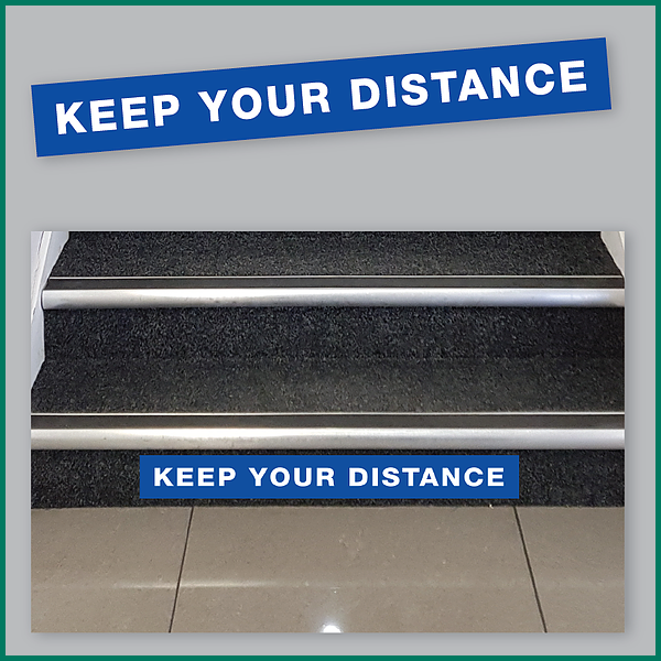 Keep Your Distance Stairs Warning Sticker from Minuteman Press Norwich image 1