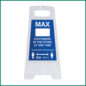 MAX Customers Allowed In Store A-Frame making your business COVID compliant and helping stop the spread of COVID-19