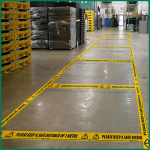 Please keep a safe distance of 1 metre flooring tape