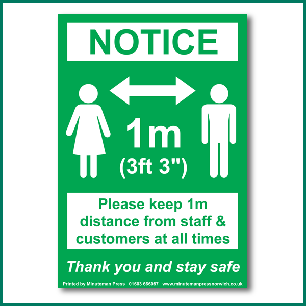 NOTICE: Please keep 1m distance from staff & customers at all times wall sticker
