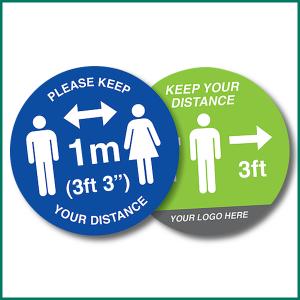 Keep 1metre distance Circle Floor warning sticker design 1