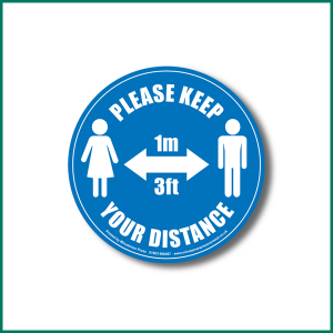 Keep 1metre distance Circle Floor warning sticker design 2