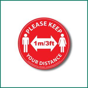Keep 1metre distance Circle Floor warning sticker design 3