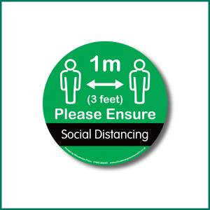 Keep 1metre distance Circle Floor warning sticker design 4