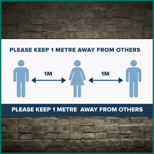 The new 1 metre social distancing guidelines vinyl banner (design1)
