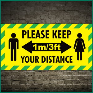 The new 1 metre social distancing guidelines vinyl banner (design2)