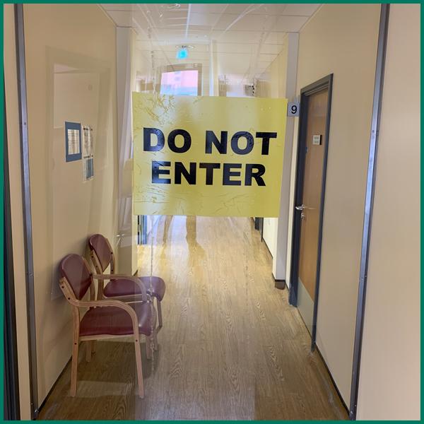 Bespoke Perspex Corridor Divider | DO NOT ENTER sign.